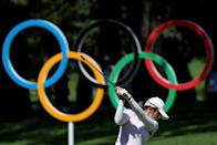 <p>Mone Inami of Team Japan plays her shot from the 16th tee during the second round of the Women's Individual Stroke Play on day thirteen of the Tokyo 2020 Olympic Games at Kasumigaseki Country Club on August 05, 2021 in Kawagoe, Japan. (Photo by Chris Trotman/Getty Images)</p>
