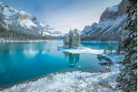 <p>Spirit Island, a landmark in Jasper National Park. With a view of the Canadian Rockies, this island is only accessible by boat.</p>