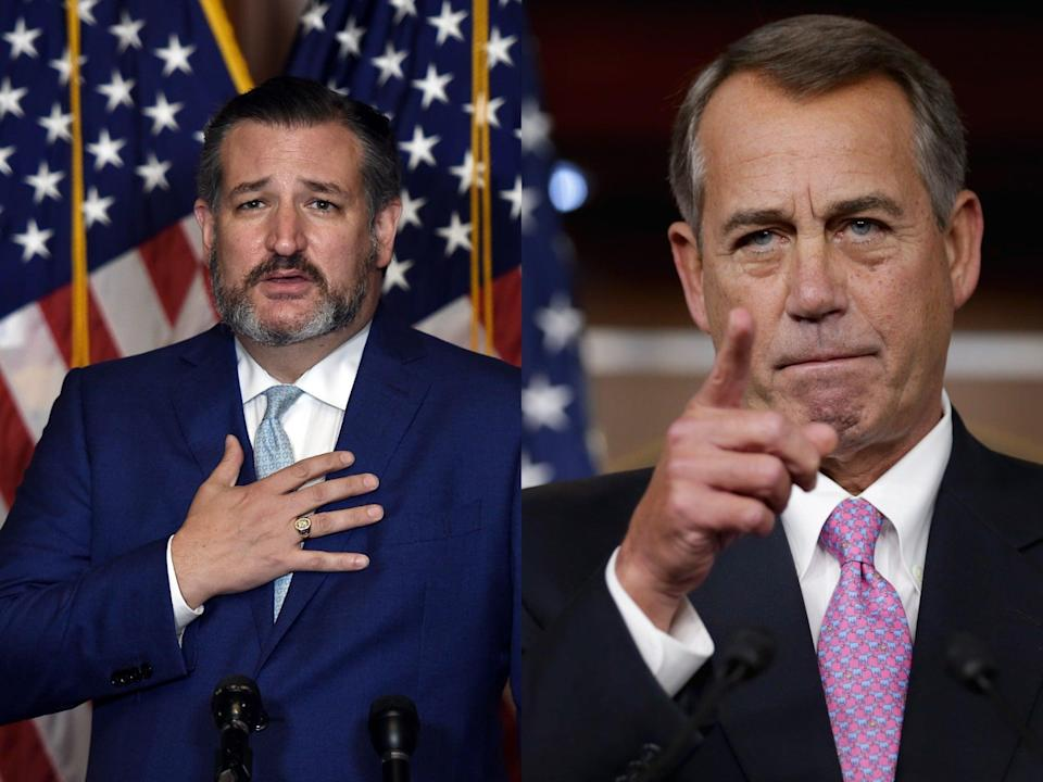 <p>Ted Cruz (L) puts copy of John Boehner's (R) book in fireplace after ex-Speaker dubbed him 'Lucifer in the flesh'</p> (Getty Images)
