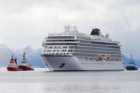 FILE PHOTO: Viking Sky cruise ship arrives, after problems the ship got in the storm outside of Hustadvika, at Molde, Norway March 24,2019. NTB Scanpix/Svein Ove Ekornesvag via REUTERS/File Photo