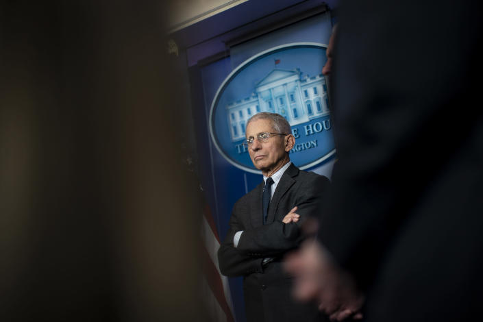 Director of the National Institute of Allergy and Infectious Diseases Anthony Fauci listens during a coronavirus task force press briefing, in the White House briefing room in Washington, March 21, 2020. (Al Drago/The New York Times)