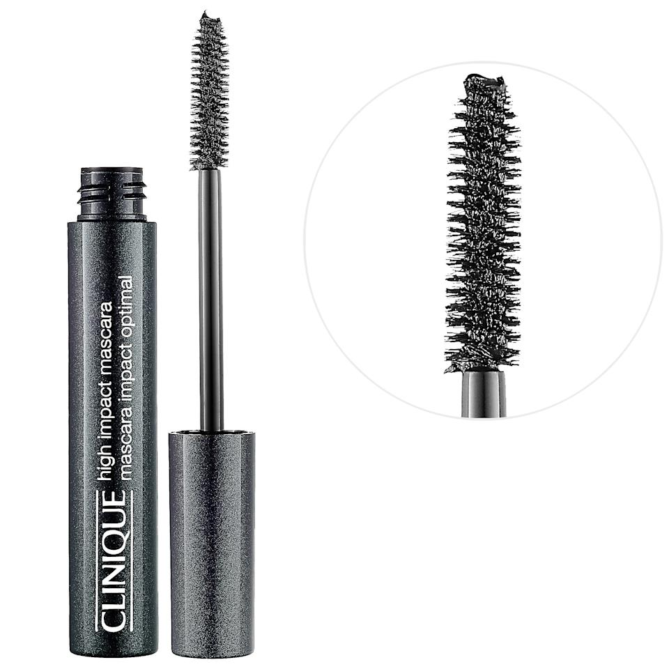 """<h3>Clinique High Impact Mascara<br></h3><br>Just because it's safer for the eyes doesn't mean it has to lack in performance. This pigment-packed wand leaves you with bold lashes after just one swipe, which means less time in front of the mirror and more time actually <em>being</em> on time.<br><br><strong>Clinique</strong> High Impact Mascara, $, available at <a href=""""https://go.skimresources.com/?id=30283X879131&url=https%3A%2F%2Fwww.sephora.com%2Fproduct%2Fhigh-impact-mascara-P122912%3Fom_mmc%3Daff-linkshare-redirect-TnL5HPStwNw%26c3ch%3DLinkshare%26c3nid%3DTnL5HPStwNw%26affid%3DTnL5HPStwNw-JZzf.Vx6mvx9jJYFoKND7w%26ranEAID%3DTnL5HPStwNw%26ranMID%3D2417%26ranSiteID%3DTnL5HPStwNw-JZzf.Vx6mvx9jJYFoKND7w%26ranLinkID%3D10-1%26browserdefault%3Dtrue"""" rel=""""nofollow noopener"""" target=""""_blank"""" data-ylk=""""slk:Sephora"""" class=""""link rapid-noclick-resp"""">Sephora</a>"""