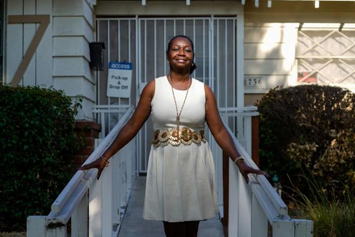 Paulette Moses outside of the group home that she operates in Winnetka.