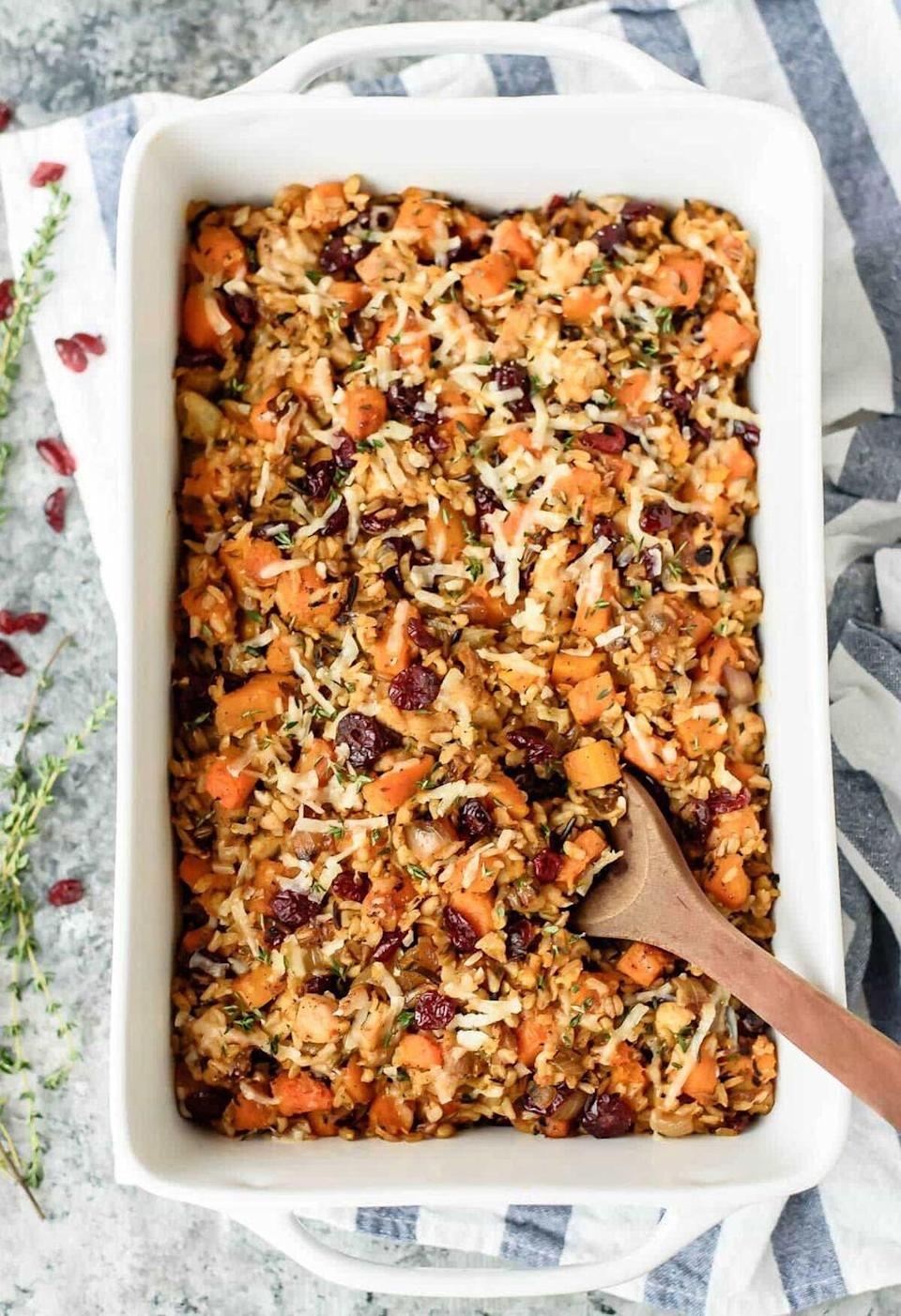 """<p>Try this upgraded chicken and rice recipe when you're craving a healthy but filling meal.</p><p><strong>Get the recipe at <a href=""""https://www.wellplated.com/chicken-and-wild-rice-casserole/"""" rel=""""nofollow noopener"""" target=""""_blank"""" data-ylk=""""slk:Well Plated by Erin"""" class=""""link rapid-noclick-resp"""">Well Plated by Erin</a>.</strong><br></p>"""