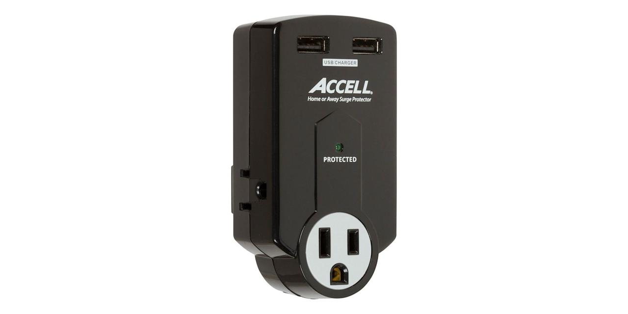 """<p><strong>Accell</strong></p><p>amazon.com</p><p><strong>$17.99</strong></p><p><a href=""""http://www.amazon.com/dp/B00ABC1LGE/?tag=syn-yahoo-20&ascsubtag=%5Bartid%7C10060.g.3062%5Bsrc%7Cyahoo-us"""" target=""""_blank"""">Shop Now</a></p><p>This portable surge protector sports two USB ports and one socket, perfect for when you're on the road and want to ensure extra protection for your electronics. The surge protector itself won't obstruct your bottom wall outlet when it's plugged in.</p>"""