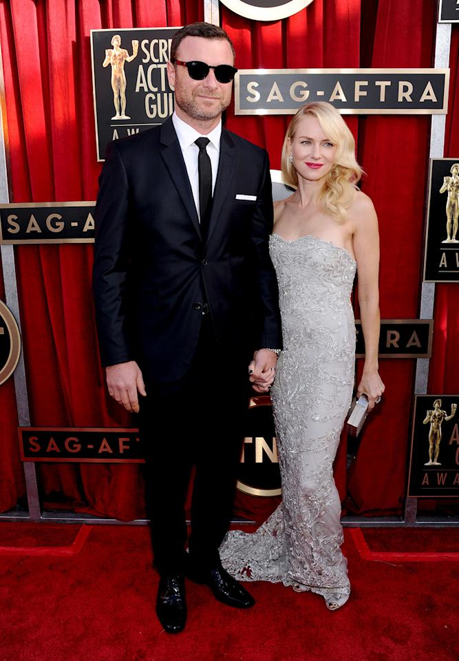 Liev Shreiber and Naomi Watts arrive at the 19th Annual Screen Actors Guild Awards at the Shrine Auditorium in Los Angeles, CA on January 27, 2013.
