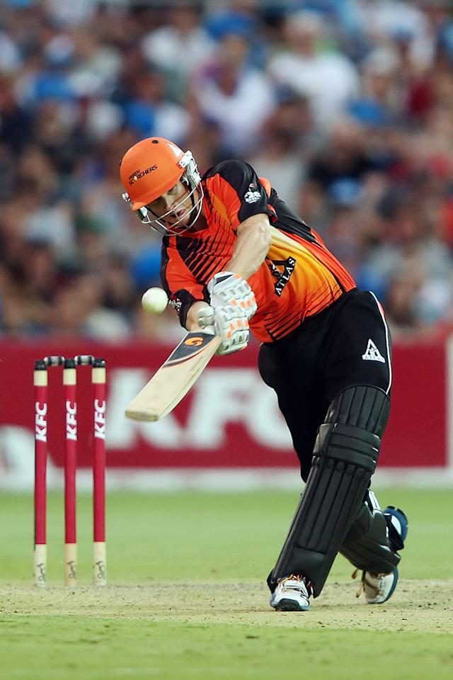 ADELAIDE, AUSTRALIA - JANUARY 10: Adam Voges of Perth bats during the Big Bash League match between the Adelaide Strikers and the Perth Scorchers at Adelaide Oval on January 10, 2013 in Adelaide, Australia.  (Photo by Morne de Klerk/Getty Images)