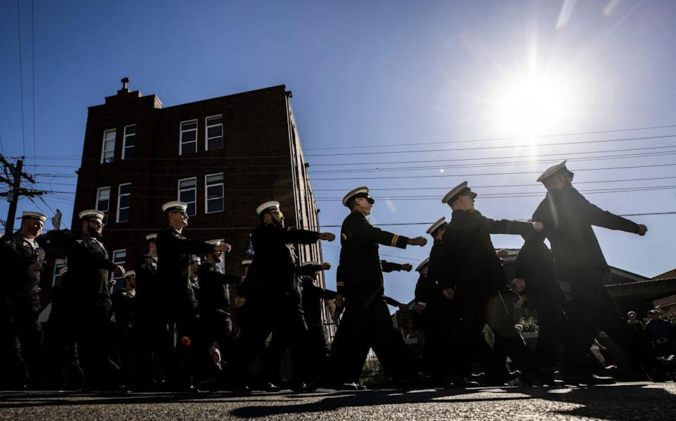 Members of the Royal Australian Navy parading on Anzac Day - Brook Mitchell /Getty Images AsiaPac