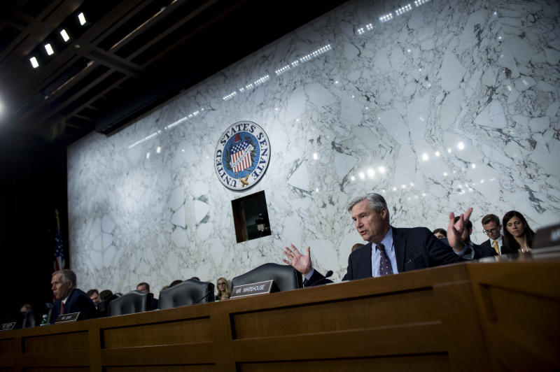 Sen. Sheldon Whitehouse (D-R.I.) questions Supreme Court nominee Brett Kavanaugh as he testifies during a hearing in front of the Senate judiciary committee on Sept. 6. (Sarah Silbiger/Congressional Quarterly via Getty Images)