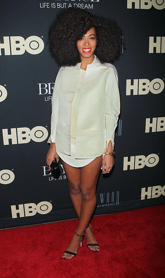 "Solange Knowles attends the ""Beyonce: Life Is But A Dream"" New York Premiere at Ziegfeld Theater on February 12, 2013 in New York City."