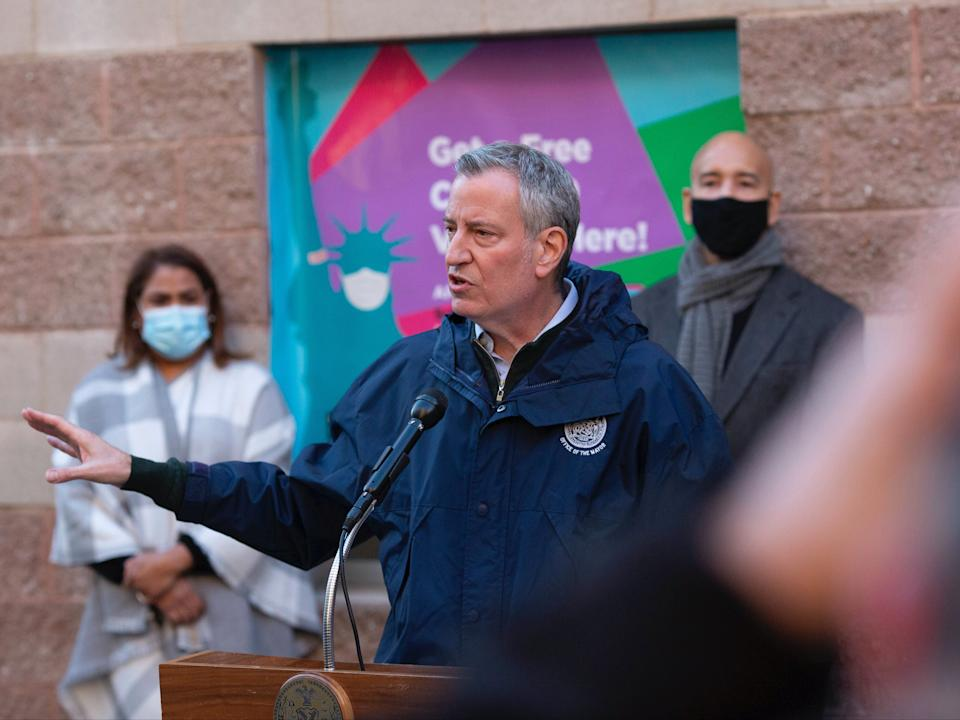 <p>Mayor Bill de Blasio warns New York City will run out of vaccine doses by Thursday</p> (AP)