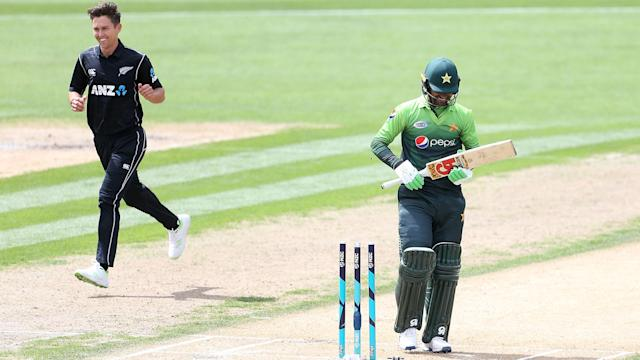 Trent Boult took a five-for as New Zealand crushed Pakistan in their third one-day international.
