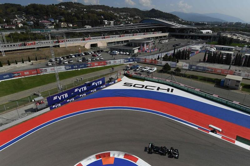 Mercedes' Lewis Hamilton during the first practice session at the 2020 Russian Grand Prix.