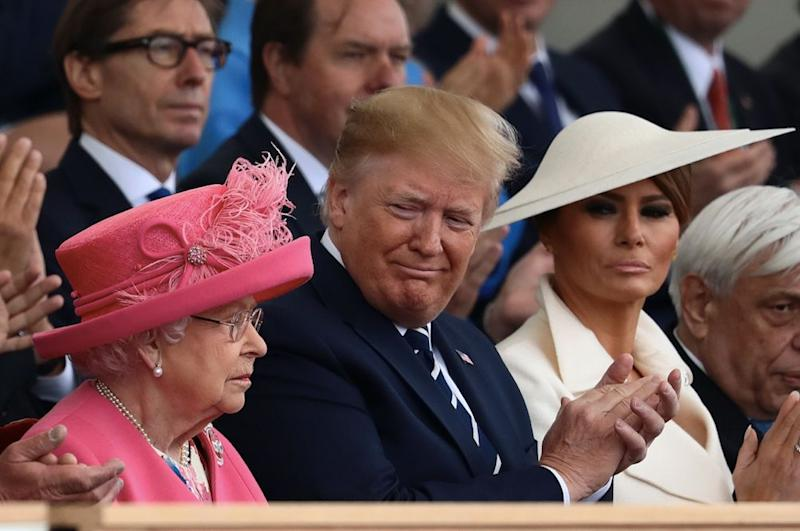Donald and Melania Trump earlier joined the Queen for the D-Day 75 national commemoration (Getty)