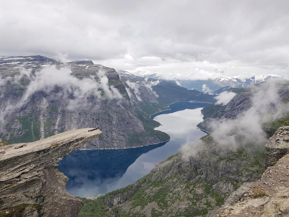 The traditional image of 'Trolltunga' (Trolltunga Adventures / Caters News)