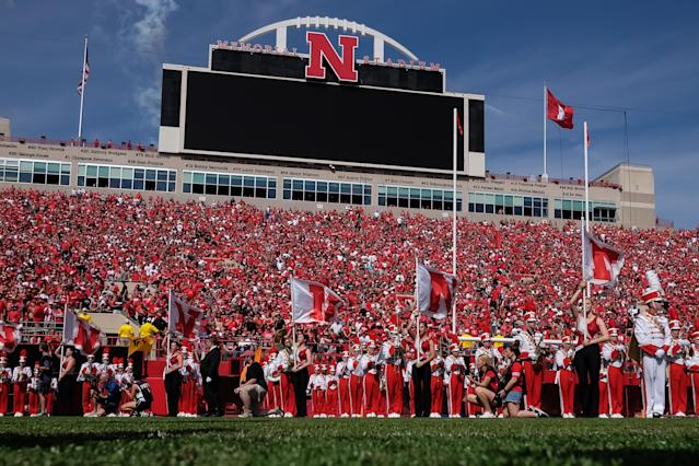 "LINCOLN, NE – SEPTEMBER 23: The band of the <a class=""link rapid-noclick-resp"" href=""/ncaab/teams/nai/"" data-ylk=""slk:Nebraska Cornhuskers"">Nebraska Cornhuskers</a> awaits the arrival of the team before the game against the <a class=""link rapid-noclick-resp"" href=""/ncaab/teams/rak/"" data-ylk=""slk:Rutgers Scarlet Knights"">Rutgers Scarlet Knights</a> at Memorial Stadium on September 23, 2017 in Lincoln, Nebraska. (Photo by Steven Branscombe/Getty Images)"