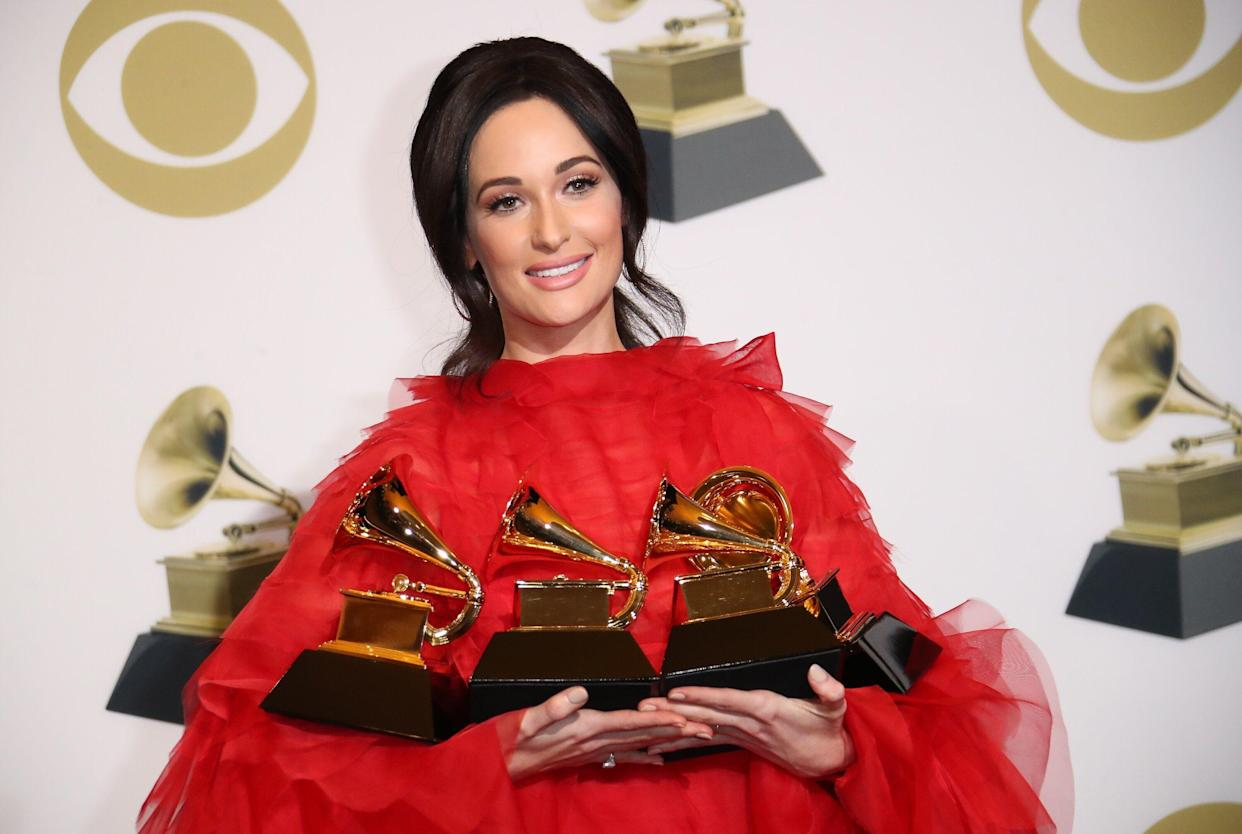 Country singer Kacey Musgraves, with a few of her Grammys, has a question for Alabama lawmakers behind the anti-abortion ban. (Photo: Dan MacMedan/Getty Images)
