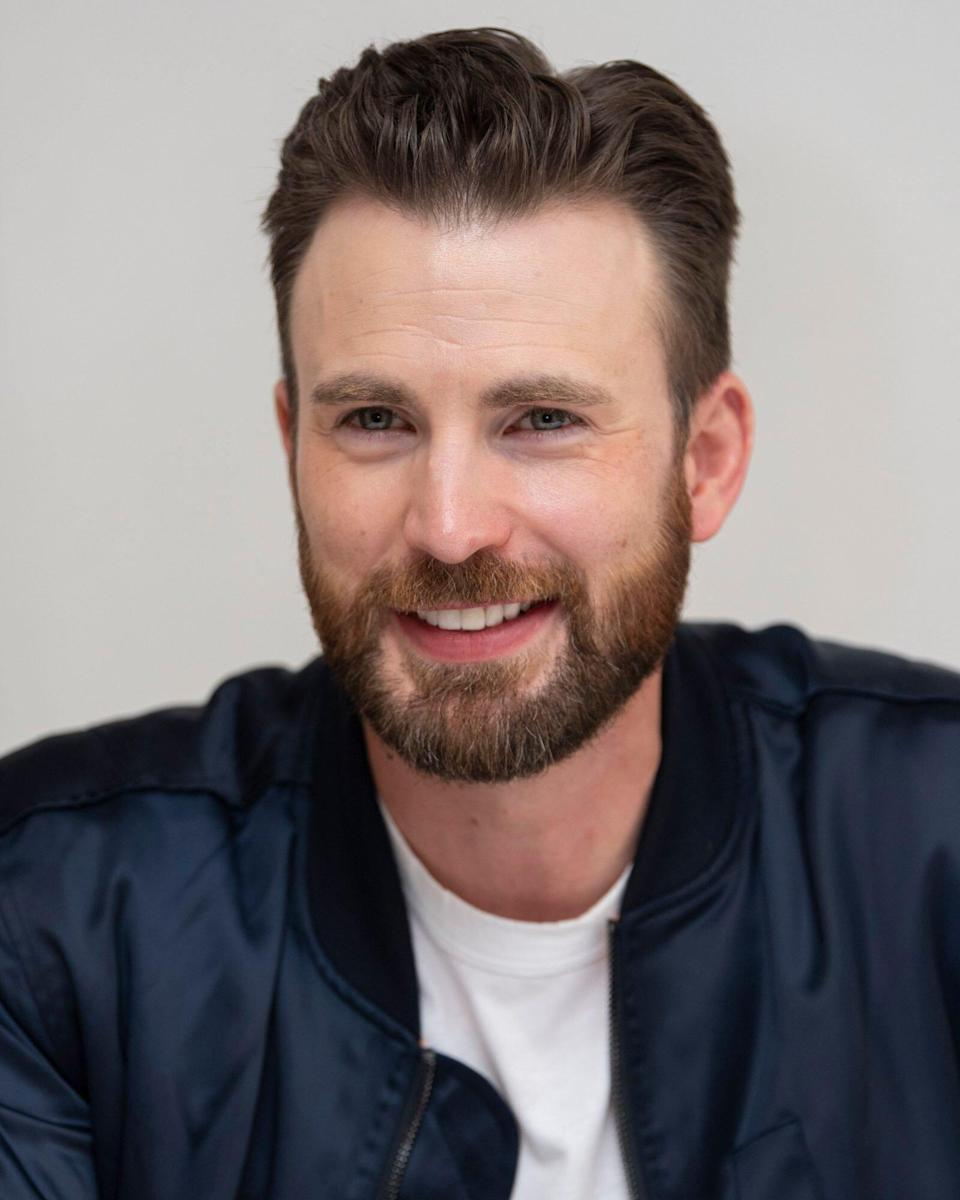 Shirtless Chris Evans Hangs with His Cute Rescue Dog Dodger in New Photo