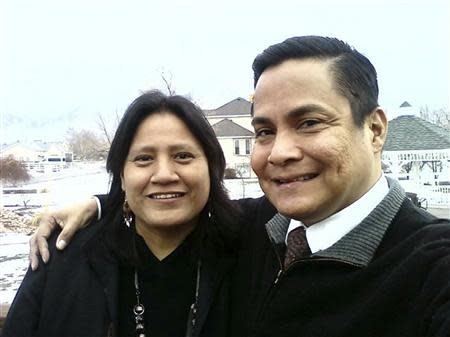 Native American Morrill, a member of the Navajo nation, poses with his cousin in this family photo in Draper