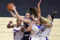 Villanova's Maddy Siegrist pulls down a rebound against DePaul during the second half of an NCAA college basketball game in the quarterfinals of the Big East Conference tournament at Mohegan Sun Arena, Saturday, March 6, 2021, in Uncasville, Conn. (AP Photo/Jessica Hill)