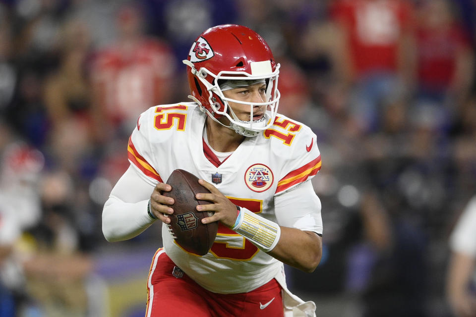 Kansas City Chiefs quarterback Patrick Mahomes looks for a receiver in the first half of an NFL football game against the Baltimore Ravens, Sunday, Sept. 19, 2021, in Baltimore. (AP Photo/Nick Wass)