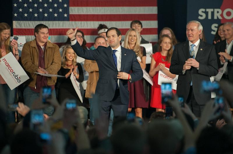 Republican presidential candidate Marco Rubio speaks at a rally on the campus of the University of Central Arkansas on February 29, 2016 in Conway, Arkansas (AFP Photo/Michael B. Thomas)