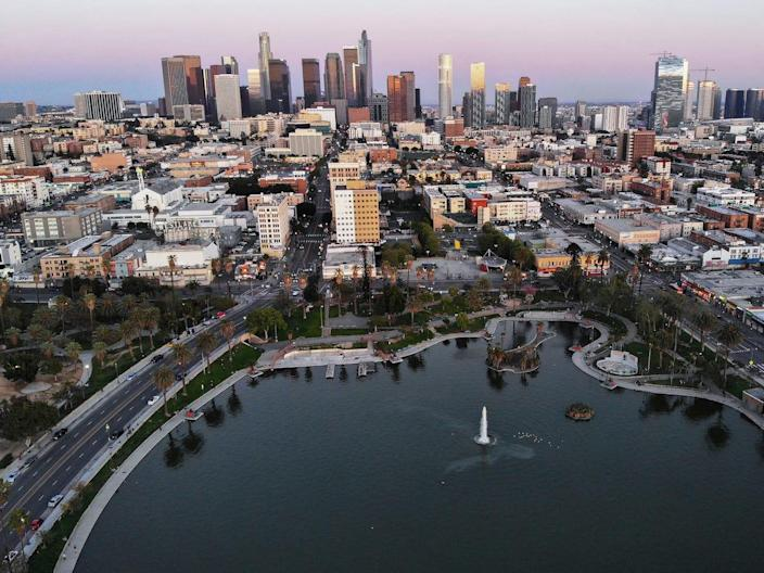 An aerial view of MacArthur Park and downtown Los Angeles on April 15, 2020.