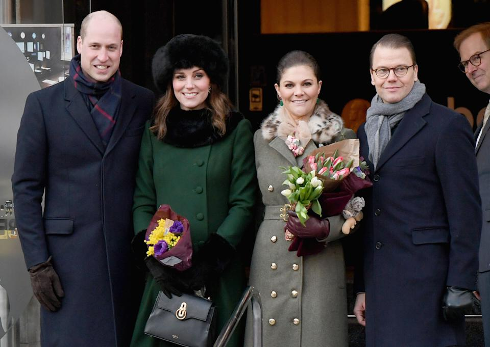Williamand Kate with Crown Princess Victoria of Sweden and Prince Daniel of SwedenonJan. 30.