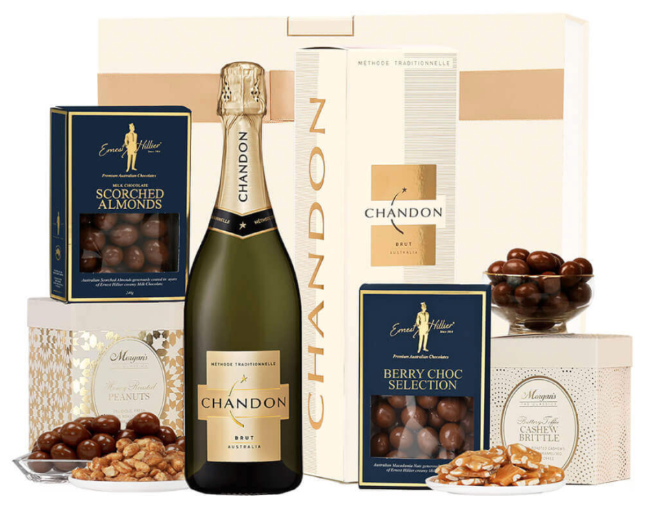 dessert box with bottle of Chandon, chocolates, toffee brittle and nuts