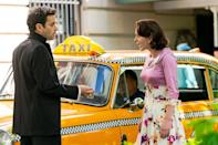 <p>On May 13, Brosnahan and Kirby acted out a scene in front of a vintage cab. </p>