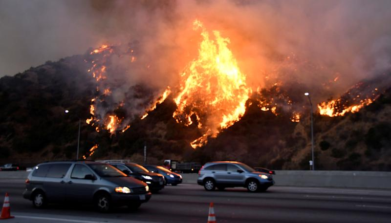 The Getty Fire burns near the Getty Center along the 405 freeway north of Los Angeles, California, U.S. October 28, 2019. REUTERS/ Gene Blevins