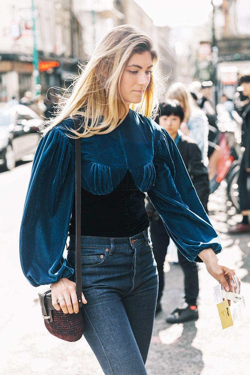 Blue velvet is our favorite kind of velvet. Mix in different textures to play up the luxe fabric.