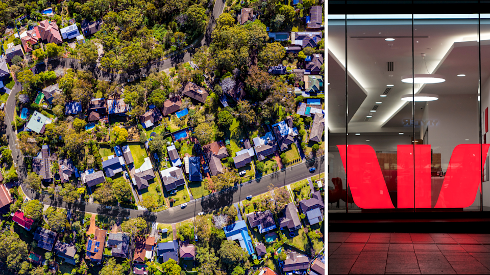 An aerial view of an Australian suburb and the Westpac symbol in a shop window.