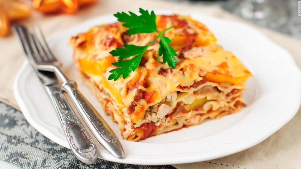 "<p>This chicken and pumpkin lasagna will fit right into your Thanksgiving menu.</p><div class=""cnn--image__credit""><em><small>Credit: Shutterstock / Shutterstock</small></em></div>"