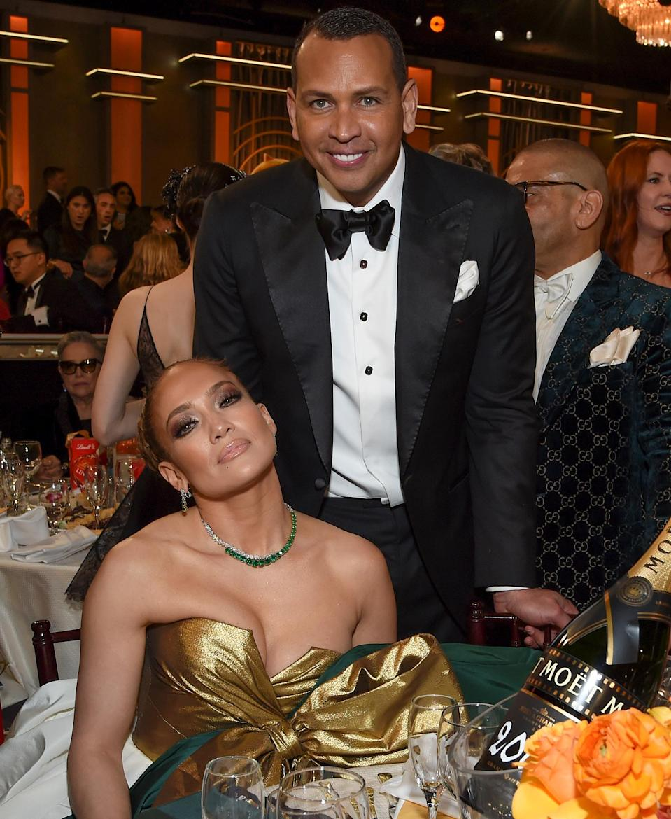 "<p>With Lopez nominated for a Golden Globe, Critics' Choice and SAG Award for her role in <em>Hustlers</em>, the pair got red carpet ready for awards season. <a href=""https://people.com/style/jennifer-lopez-alex-rodriguez-cutest-red-carpet-moments/"" rel=""nofollow noopener"" target=""_blank"" data-ylk=""slk:The pair's red carpet style was, frankly, unmatched."" class=""link rapid-noclick-resp"">The pair's red carpet style was, frankly, unmatched.</a></p> <p>Following her Golden Globes loss, Rodriguez <a href=""https://www.instagram.com/p/B69s8_XgP-D/"" rel=""nofollow noopener"" target=""_blank"" data-ylk=""slk:wrote on Instagram"" class=""link rapid-noclick-resp"">wrote on Instagram</a>, ""Jen, it doesn't take a trophy, medal, or plaque to identify a true champion. To millions of young women who have watched you and have been inspired and empowered to do amazing things in their lives, you are a champion.""</p>"