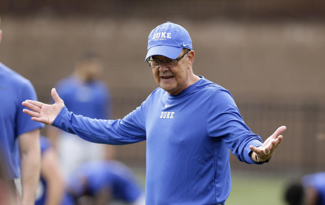 This photo taken Friday, Aug. 2, 2019, shows Duke head coach David Cutcliffe directs his players during an NCAA college football practice in Durham, N.C. (AP Photo/Gerry Broome)