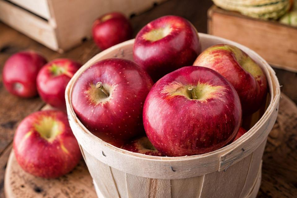 """<p><a href=""""https://www.goodhousekeeping.com/food-recipes/g3658/best-apple-recipes/"""" rel=""""nofollow noopener"""" target=""""_blank"""" data-ylk=""""slk:Apples"""" class=""""link rapid-noclick-resp"""">Apples</a> are full of fiber (most of it in the peel, so leave it on!), which makes them an excellent choice for snacking. Pair them peanut or almond butter to get some protein in every bite. </p><p><em>1 serving = 1 small apple</em></p>"""