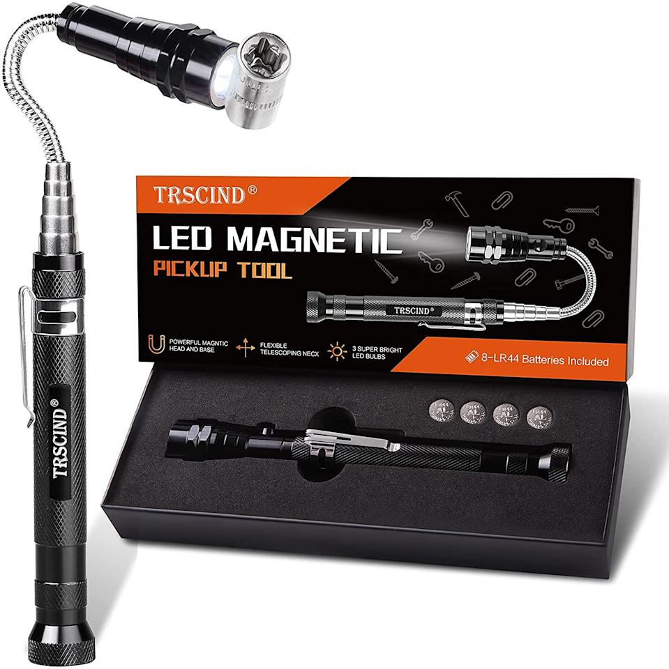 """<h2>LED Magnetic Pickup Tool</h2><br><strong>Under $20<br></strong>This compact gadget looks like something your dad would have at the ready for retrieving errant bolts and screws as he tinkers endlessly with heaven-knows-what in the garage.<br><br><em>Shop <strong><a href=""""https://amzn.to/3cntdAP"""" rel=""""nofollow noopener"""" target=""""_blank"""" data-ylk=""""slk:TRSCIND"""" class=""""link rapid-noclick-resp"""">TRSCIND</a></strong></em><br><br><strong>TRSCIND</strong> LED Magnetic Pickup Tool, $, available at <a href=""""https://www.amazon.com/Daughter-Magnetic-Birthday-Boyfriend-Telescoping/dp/B0928TQPXN"""" rel=""""nofollow noopener"""" target=""""_blank"""" data-ylk=""""slk:Amazon"""" class=""""link rapid-noclick-resp"""">Amazon</a>"""