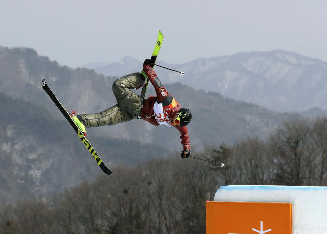 <p>Alex Beaulieu-Marchand, of Canada, jumps during the men's slopestyle final at Phoenix Snow Park at the 2018 Winter Olympics in Pyeongchang, South Korea, Sunday, Feb. 18, 2018. (AP Photo/Kin Cheung) </p>