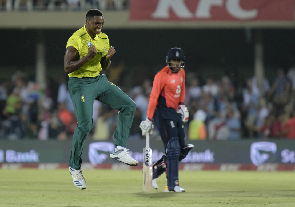 Lungi Ngidi of South Africa reacts after the last ball is bowled during the T20 cricket match between South Africa and England in East London, South Africa, Wednesday, Feb. 12, 2020. (AP Photo/Michael Sheehan)