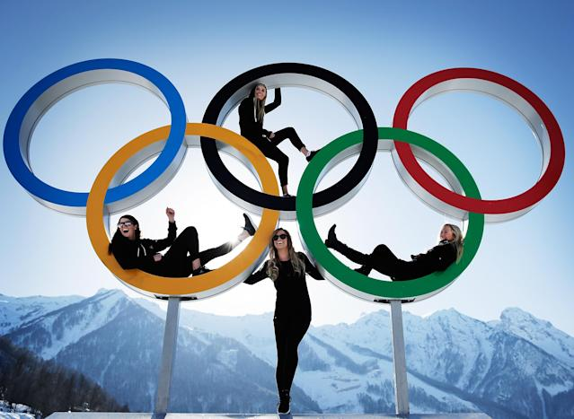 SOCHI, RUSSIA - FEBRUARY 04: Shelly Gotlieb, Stefi Luxton, Christy Prior and Rebecca Torr of New Zealand pose for a picture at the with the Olympic Rings at Athletes Village ahead of the Sochi 2014 Winter Olympics on February 4, 2014 in Sochi, Russia. (Photo by Adam Pretty/Getty Images)