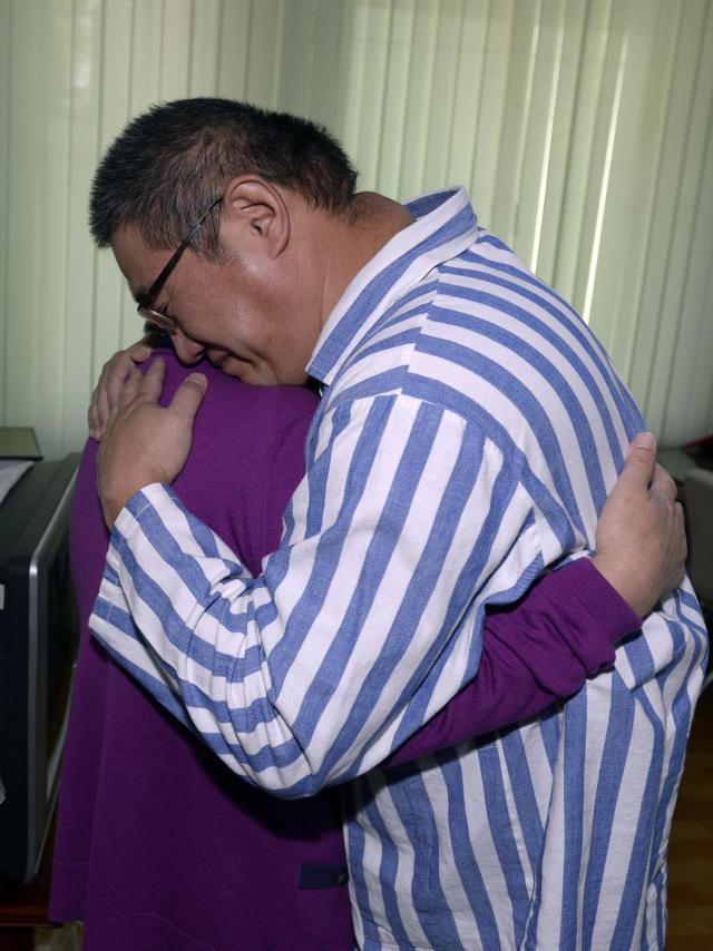 Kenneth Bae, right, an American man detained in North Korea for the past 11 months, and his mother Myunghee Bae embrace each other during their meeting at a hospital in Pyongyang Friday, Oct. 11, 2013. For the first time since he was sentenced eleven months ago to 15 years of hard labor in North Korea, the Korean-American Christian missionary and tour operator has had a visit today from his mother. She later told Japan's Kyodo News agency that Kenneth Bae's health has gotten better since he was transferred to a hospital from a prison where he was serving his sentence. But he told her that his condition is still not good. (AP Photo/The Choson Sinbo, Mun Kwang Son) NO SALES, NO ARCHIVING, ONE TIME USE ONLY, CREDIT MANDATORY