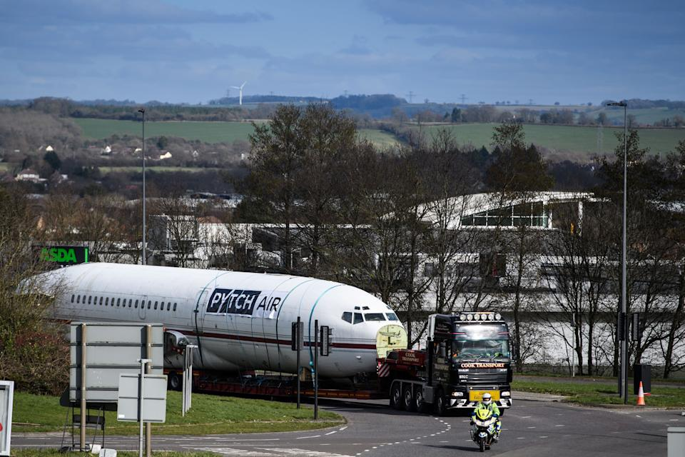 The fuselage was driven along South Gloucestershire en route to its new life as an office. (SWNS)