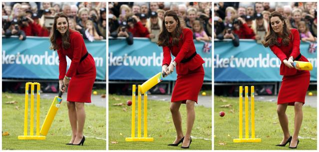 A combination picture shows Catherine, the Duchess of Cambridge, trying to hit a ball using a cricket bat as she and her husband, Britain's Prince William, attend a promotional event for the upcoming Cricket World Cup in Christchurch April 14, 2014. The Prince and his wife Kate are undertaking a 19-day official visit to New Zealand and Australia with their son George. REUTERS/Phil Noble (NEW ZEALAND - Tags: ROYALS ENTERTAINMENT POLITICS)