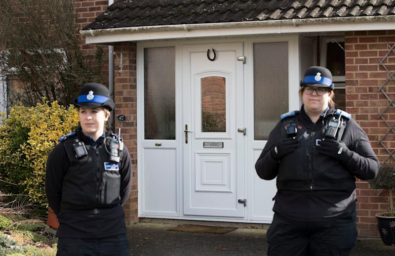 <strong>Police officers on guard at the Salisbury Skripal family home&nbsp;</strong> (Photo: Rex Features)
