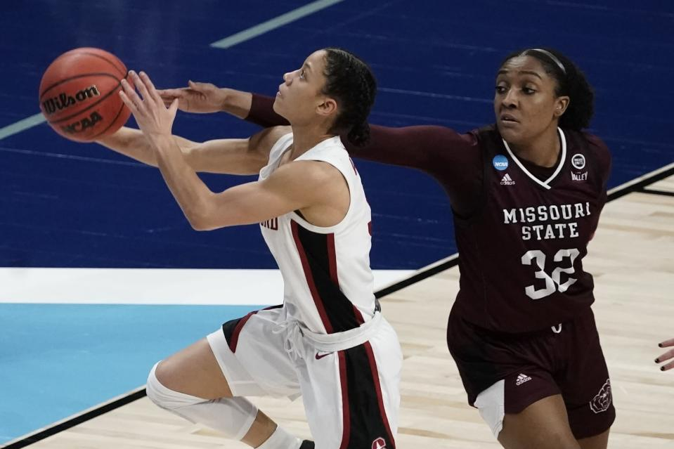 Stanford's Anna Wilson shoots past Missouri State's Jasmine Franklin during the second half of an NCAA college basketball game in the Sweet 16 round of the Women's NCAA tournament Sunday, March 28, 2021, at the Alamodome in San Antonio. (AP Photo/Morry Gash)