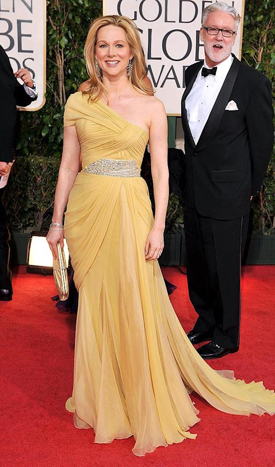 "Best Actress in a Mini Series winner Laura Linney looked yummy in a yellow one-shoulder floor-length dress, complete with a crystal-encrusted belt. Steve Granitz/<a href=""http://www.wireimage.com"" target=""new"">WireImage.com</a> - January 11, 2009"