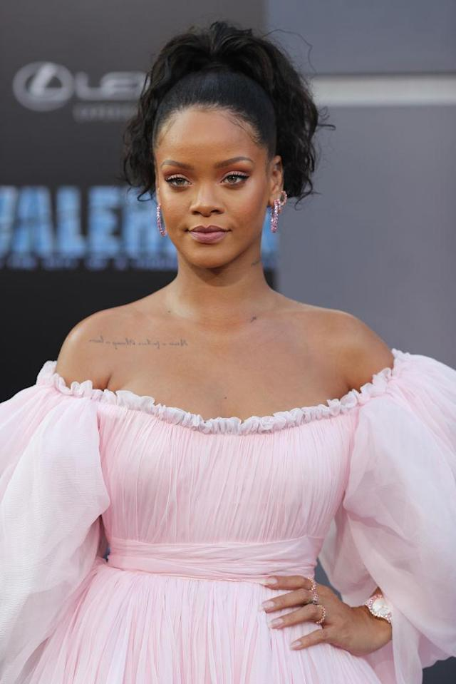 <p>Riri looked like a sweet dream in this head-to-toe pink look she wore to the <em>Valerian</em> Hollywood premiere. Her simple high ponytail, English rose eye makeup, and glossy lip all come together effortlessly. (Photo: Neilson Barnard/Getty Images) </p>