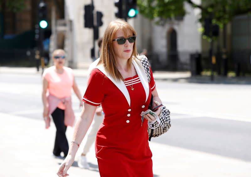 FILE PHOTO: British Labour Party deputy leader Angela Rayner is seen outside parliament in London