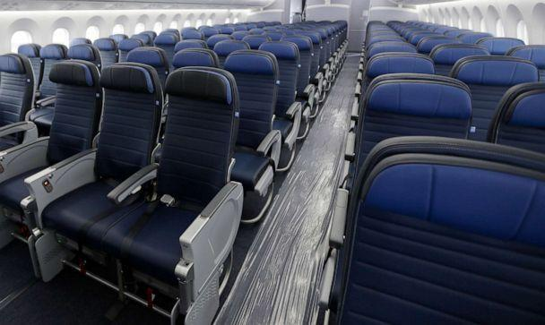 PHOTO: Economy class seating is shown on a United Airlines Boeing 787-9 undergoing final configuration and maintenance work at Seattle-Tacoma International Airport in Seattle in 2016. (Ted S. Warren/AP, FILE)